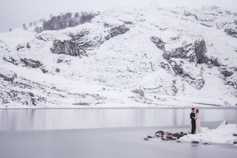 snowy lake in Asturias