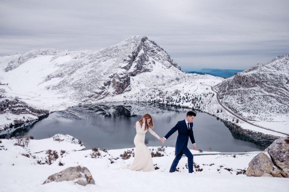 bridal bouquet in winter asturias